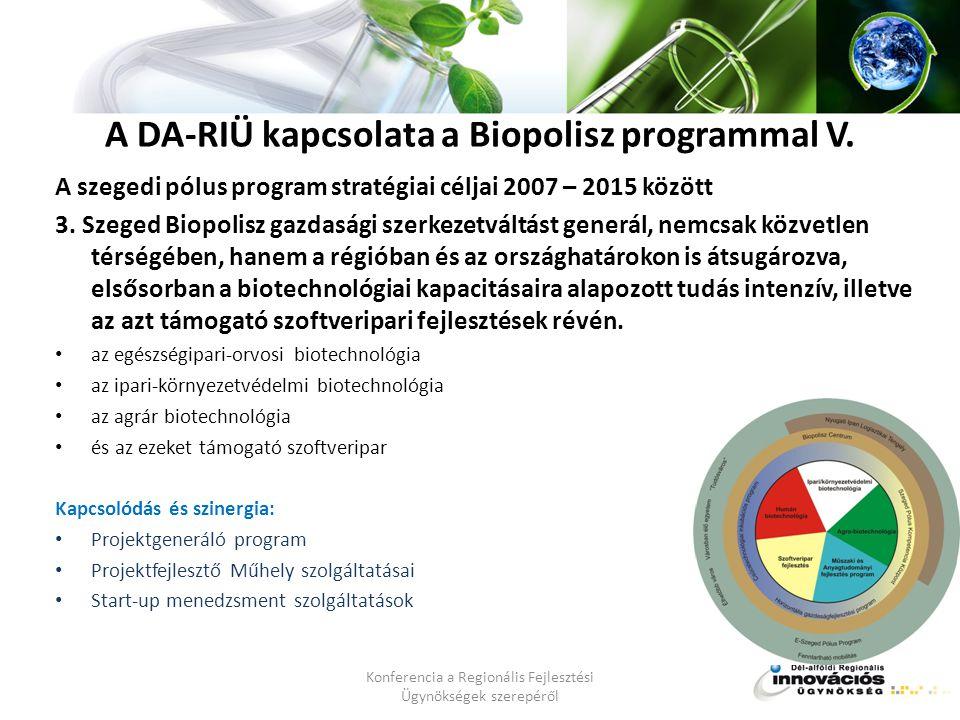 A DA-RIÜ kapcsolata a Biopolisz programmal V.