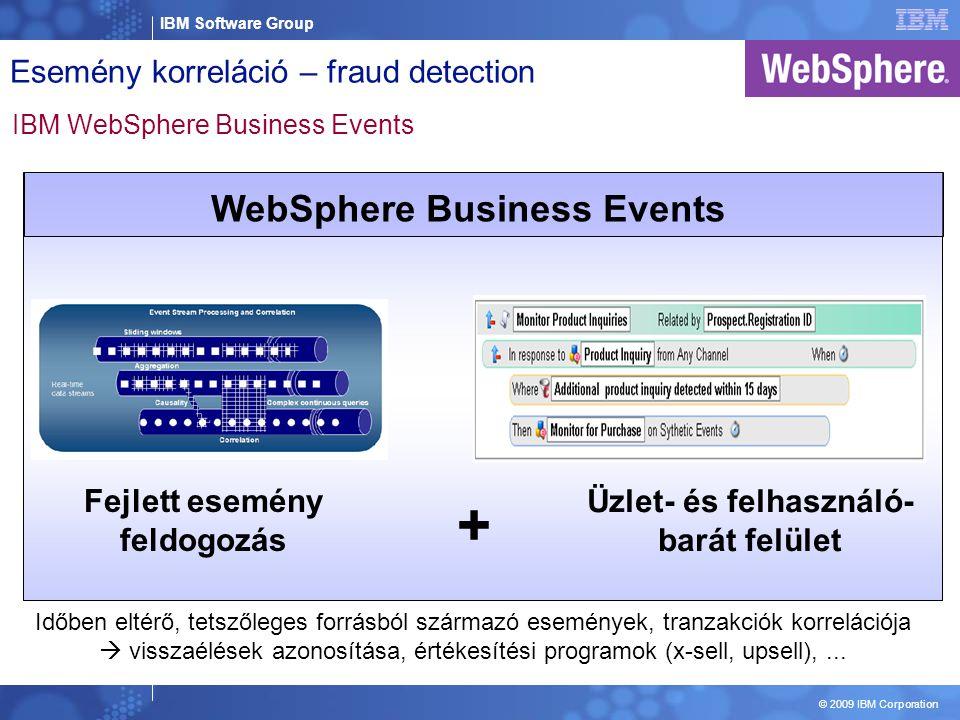 IBM Software Group © 2009 IBM Corporation Fejlett esemény feldogozás Üzlet- és felhasználó- barát felület + WebSphere Business Events Időben eltérő, tetszőleges forrásból származó események, tranzakciók korrelációja  visszaélések azonosítása, értékesítési programok (x-sell, upsell),...