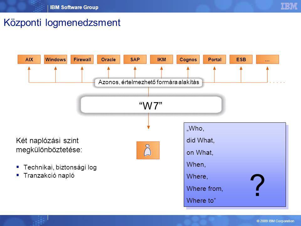 "IBM Software Group © 2009 IBM Corporation Központi logmenedzsment W7 AIXWindowsFirewallOracleSAPIKMCognosPortalESB… ""Who, did What, on What, When, Where, Where from, Where to ""Who, did What, on What, When, Where, Where from, Where to ."