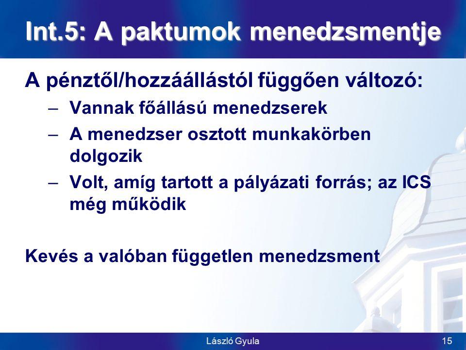 László Gyula15 Int.5: A paktumok menedzsmentje A pénztől/hozzáállástól függően változó: –Vannak főállású menedzserek –A menedzser osztott munkakörben dolgozik –Volt, amíg tartott a pályázati forrás; az ICS még működik Kevés a valóban független menedzsment