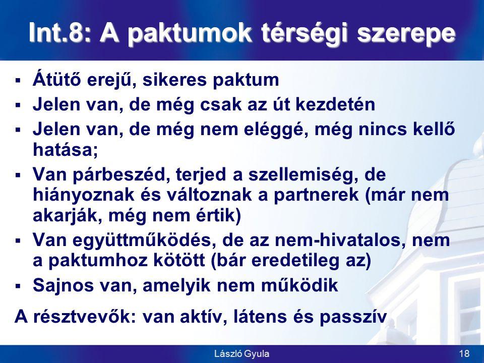 László Gyula18 Int.8: A paktumok térségi szerepe  Átütő erejű, sikeres paktum  Jelen van, de még csak az út kezdetén  Jelen van, de még nem eléggé, még nincs kellő hatása;  Van párbeszéd, terjed a szellemiség, de hiányoznak és változnak a partnerek (már nem akarják, még nem értik)  Van együttműködés, de az nem-hivatalos, nem a paktumhoz kötött (bár eredetileg az)  Sajnos van, amelyik nem működik A résztvevők: van aktív, látens és passzív