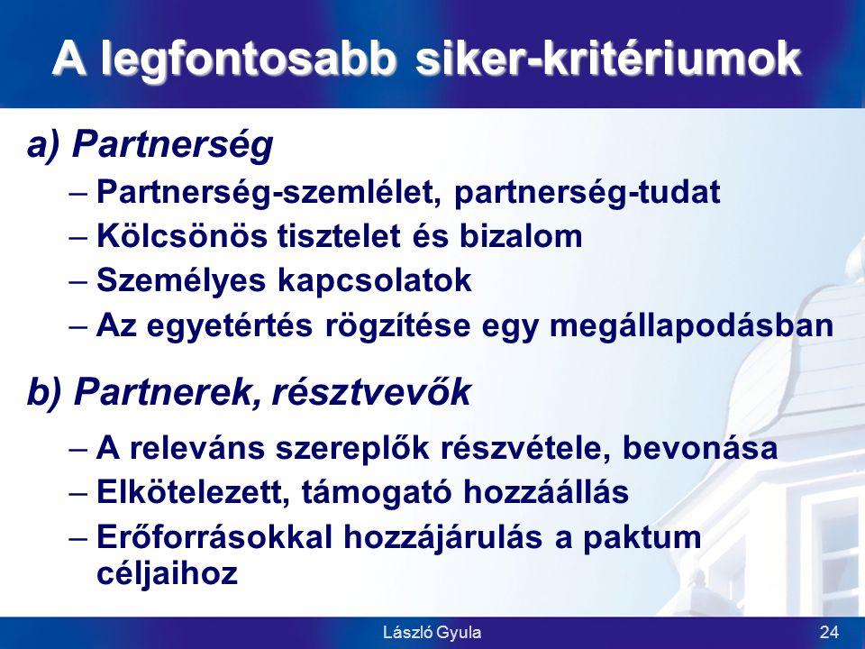 László Gyula24 A legfontosabb siker-kritériumok a) Partnerség –Partnerség-szemlélet, partnerség-tudat –Kölcsönös tisztelet és bizalom –Személyes kapcsolatok –Az egyetértés rögzítése egy megállapodásban b) Partnerek, résztvevők –A releváns szereplők részvétele, bevonása –Elkötelezett, támogató hozzáállás –Erőforrásokkal hozzájárulás a paktum céljaihoz