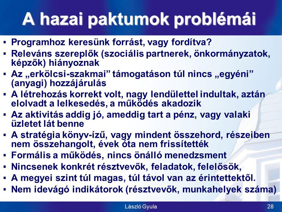László Gyula28 A hazai paktumok problémái  Programhoz keresünk forrást, vagy fordítva.