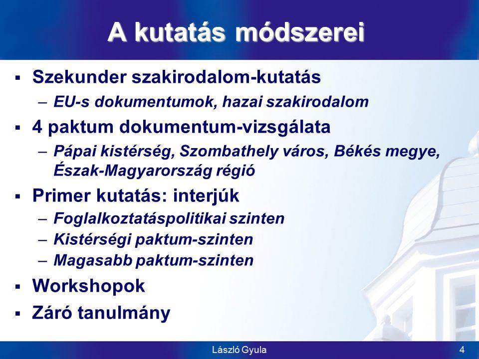 László Gyula5 A kutatás eredményei  Szakirodalom-kutatás  99 oldal (2) Dokumentum-elemzés  34 oldal (3) Interjú-kötet I.