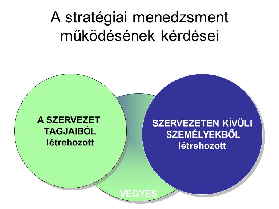 DÖNTÉSI TÍPUSOK •a racionalizálást szolgáló döntések, •szervezeti változásokra vonatkozó döntések, •politika-hatalmi akaratot érvényesítő stratégiai d