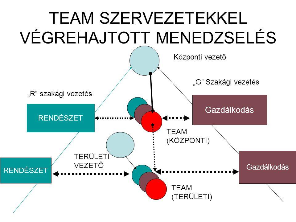 A stratégiai feladatok menedzselésének szervezeti kérdései •Funkcionális szervezetek által végrehajtott menedzselés Rendészet (központi) Rendészet (területi) Gazdálkodás (Központi) Gazdálkodás (területi) 1.Számú vezető ?