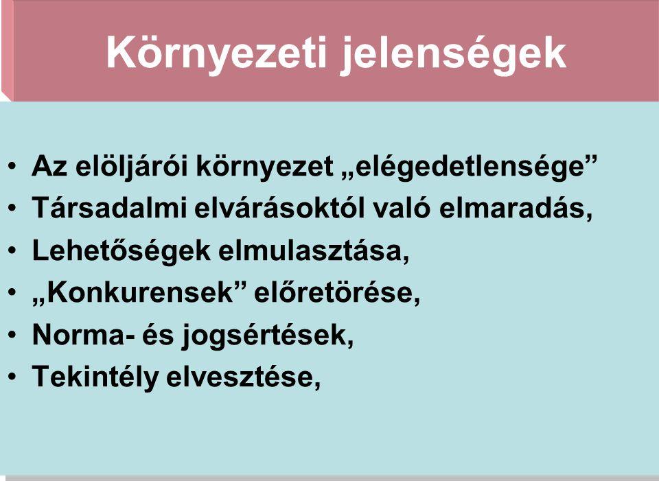 Stratégiai válsághelyzetek 2)a szervezet belső jellemzői nem teszik lehetővé a stratégia megvalósulását.