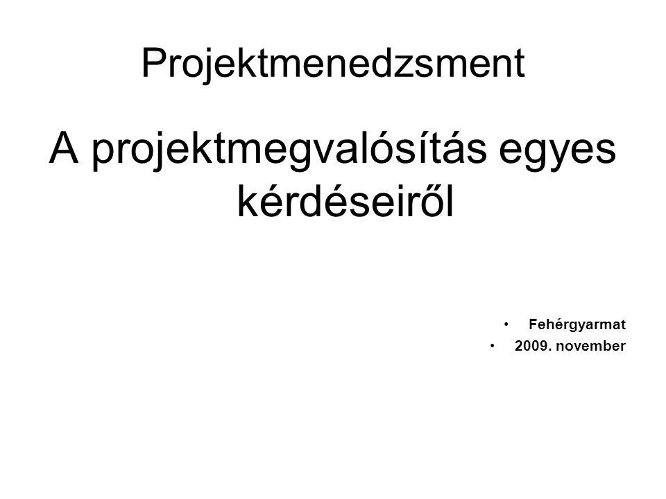 Projektmenedzsment A projektmegvalósítás egyes kérdéseiről •Fehérgyarmat •2009. november