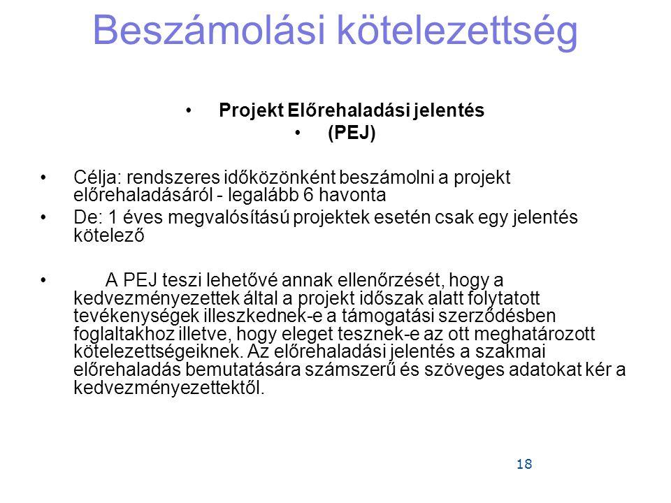 18 Beszámolási kötelezettség •Projekt Előrehaladási jelentés •(PEJ) •Célja: rendszeres időközönként beszámolni a projekt előrehaladásáról - legalább 6 havonta •De: 1 éves megvalósítású projektek esetén csak egy jelentés kötelező •A PEJ teszi lehetővé annak ellenőrzését, hogy a kedvezményezettek által a projekt időszak alatt folytatott tevékenységek illeszkednek-e a támogatási szerződésben foglaltakhoz illetve, hogy eleget tesznek-e az ott meghatározott kötelezettségeiknek.