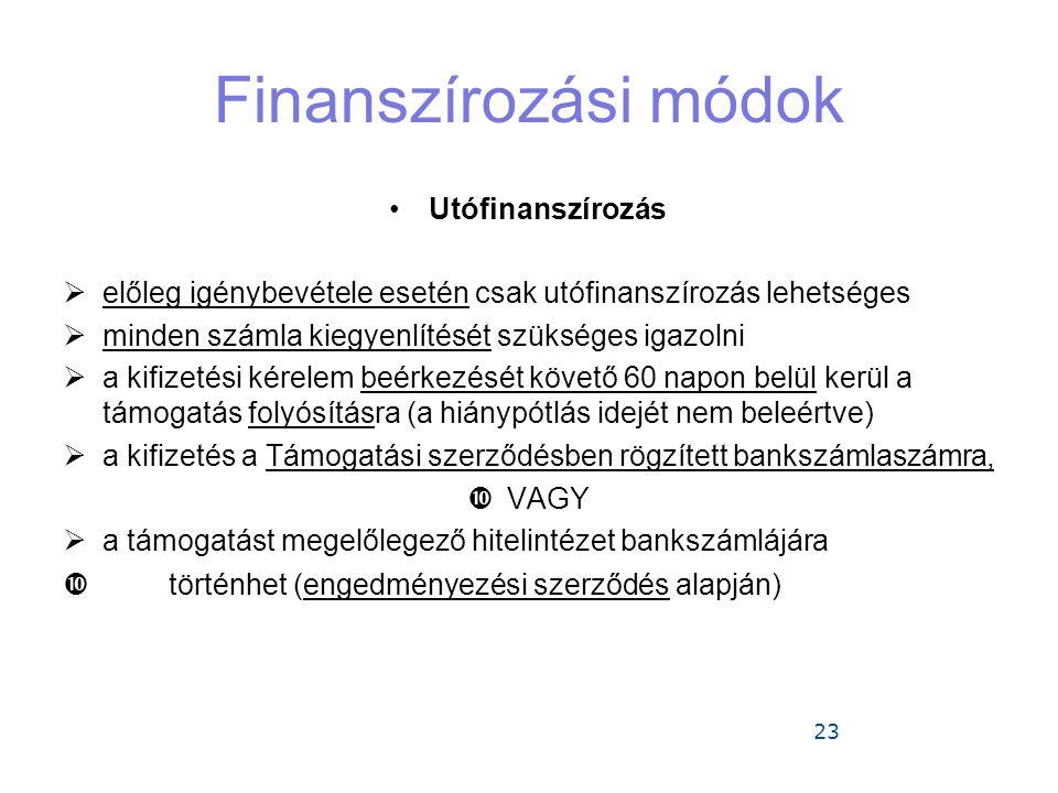23 Finanszírozási módok •Utófinanszírozás  előleg igénybevétele esetén csak utófinanszírozás lehetséges  minden számla kiegyenlítését szükséges igazolni  a kifizetési kérelem beérkezését követő 60 napon belül kerül a támogatás folyósításra (a hiánypótlás idejét nem beleértve)  a kifizetés a Támogatási szerződésben rögzített bankszámlaszámra,  VAGY  a támogatást megelőlegező hitelintézet bankszámlájára  történhet (engedményezési szerződés alapján)