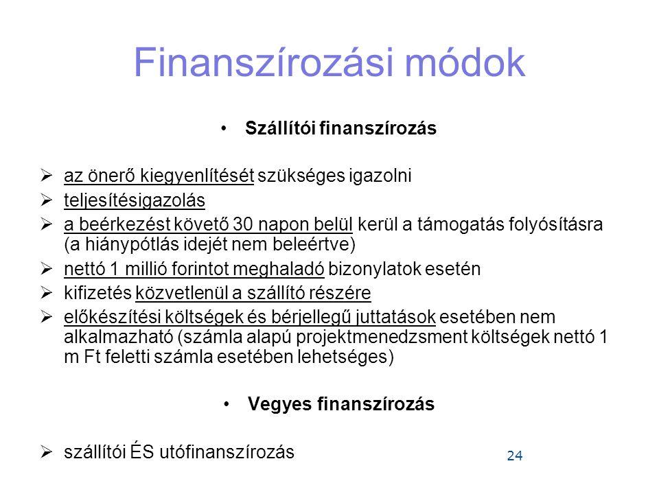24 Finanszírozási módok •Szállítói finanszírozás  az önerő kiegyenlítését szükséges igazolni  teljesítésigazolás  a beérkezést követő 30 napon belü