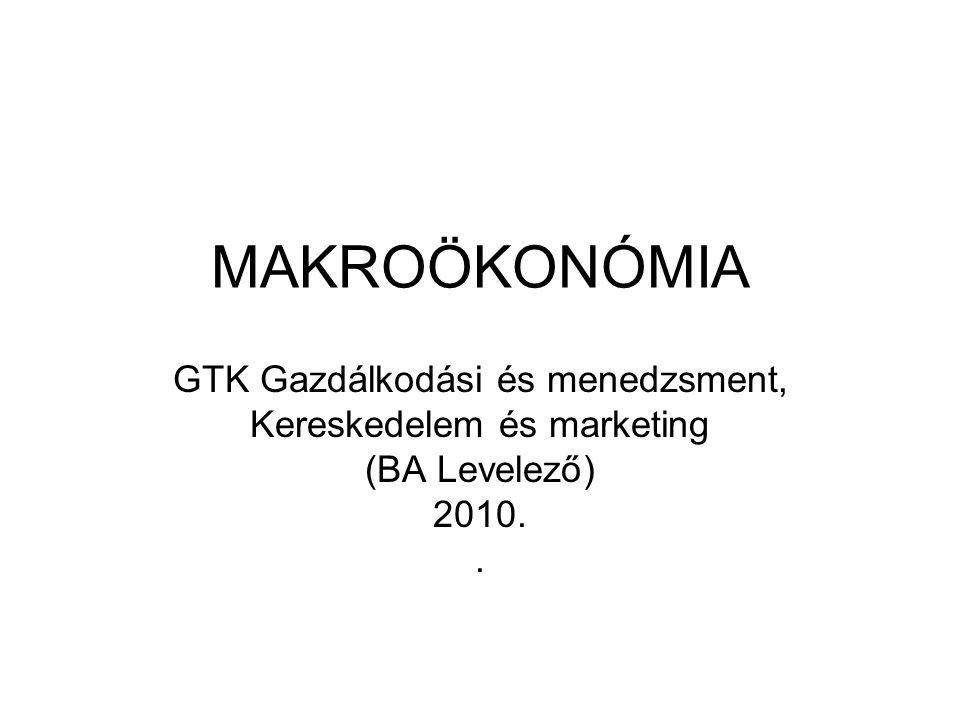 MAKROÖKONÓMIA GTK Gazdálkodási és menedzsment, Kereskedelem és marketing (BA Levelező) 2010..