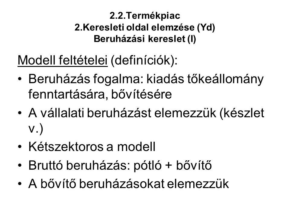 2.2.Termékpiac 2.Keresleti oldal elemzése (Yd) Beruházási kereslet (I) Modell feltételei (definíciók): •Beruházás fogalma: kiadás tőkeállomány fenntar