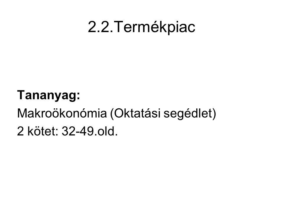 2.2.Termékpiac Tananyag: Makroökonómia (Oktatási segédlet) 2 kötet: 32-49.old.