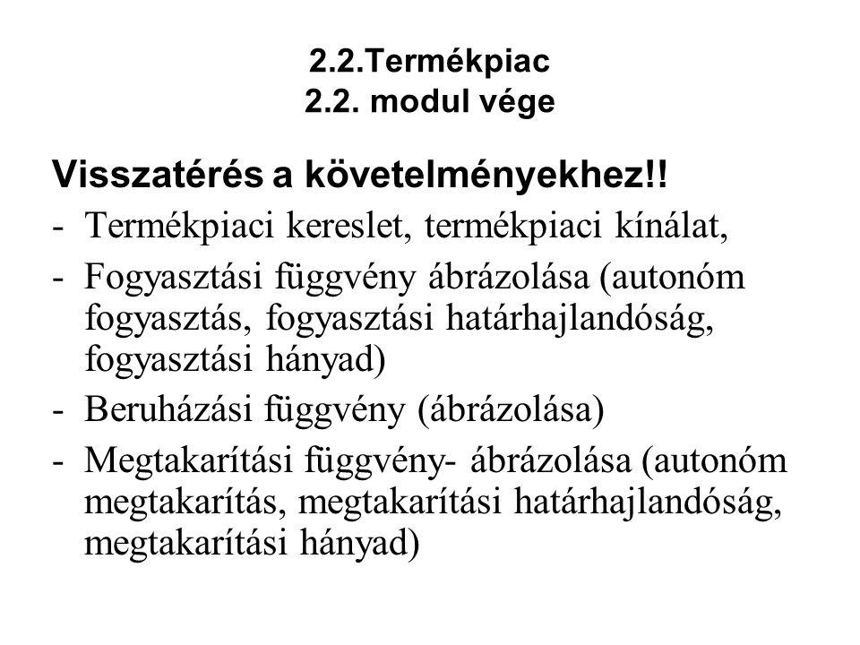2.2.Termékpiac 2.2. modul vége Visszatérés a követelményekhez!! -Termékpiaci kereslet, termékpiaci kínálat, -Fogyasztási függvény ábrázolása (autonóm