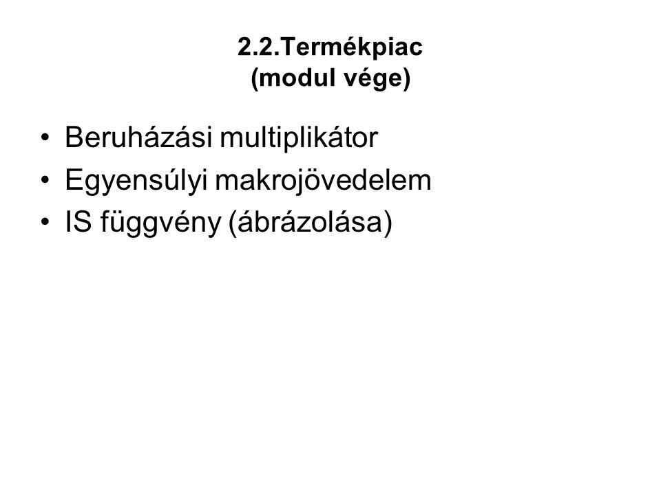 2.2.Termékpiac (modul vége) •Beruházási multiplikátor •Egyensúlyi makrojövedelem •IS függvény (ábrázolása)