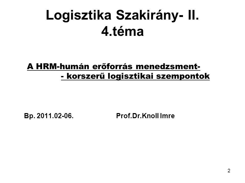 2 Logisztika Szakirány- II.
