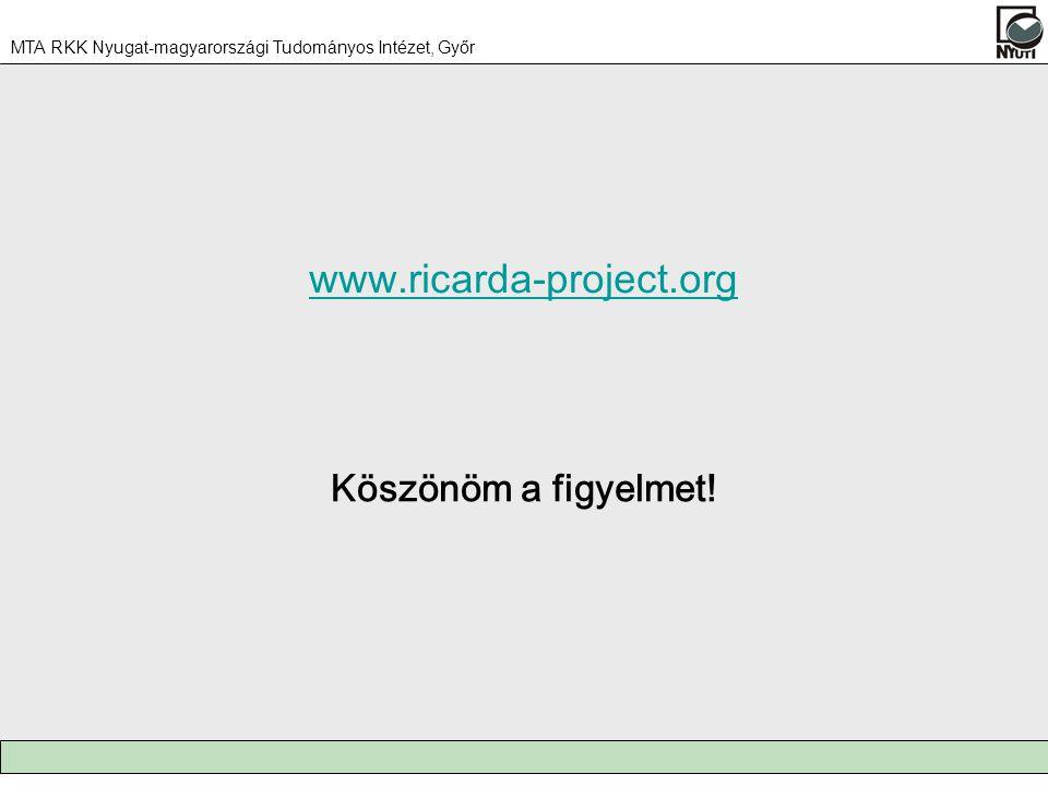 MTA RKK Nyugat-magyarországi Tudományos Intézet, Győr Köszönöm a figyelmet! www.ricarda-project.org
