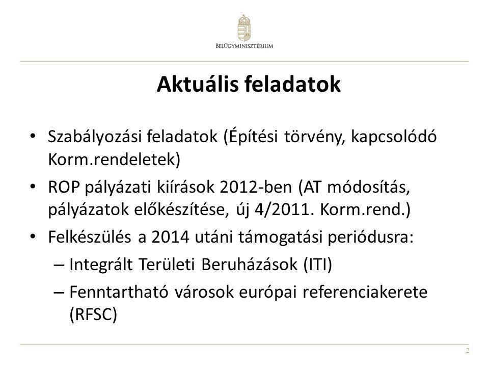 2 Aktuális feladatok • Szabályozási feladatok (Építési törvény, kapcsolódó Korm.rendeletek) • ROP pályázati kiírások 2012-ben (AT módosítás, pályázato