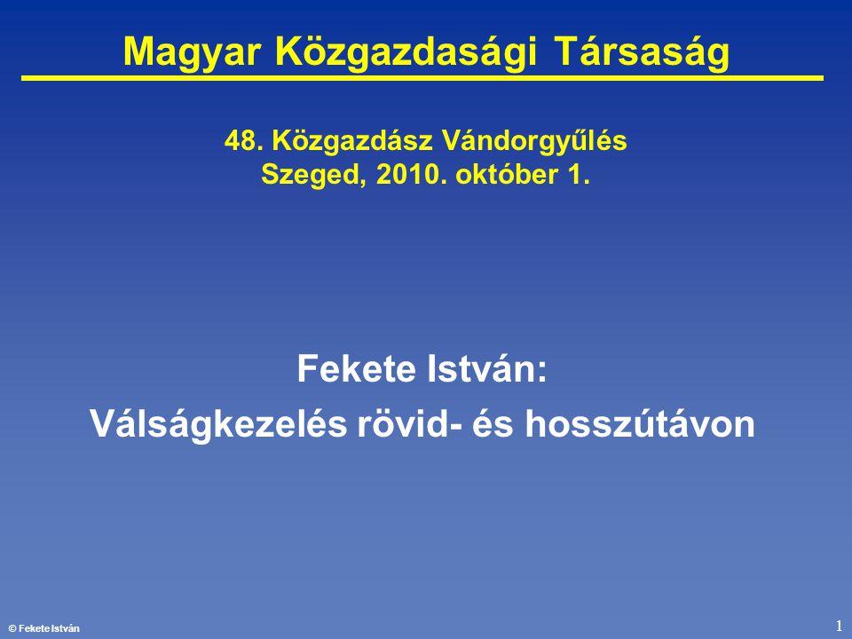 © Fekete István 1 Magyar Közgazdasági Társaság 48. Közgazdász Vándorgyűlés Szeged, 2010. október 1. Fekete István: Válságkezelés rövid- és hosszútávon
