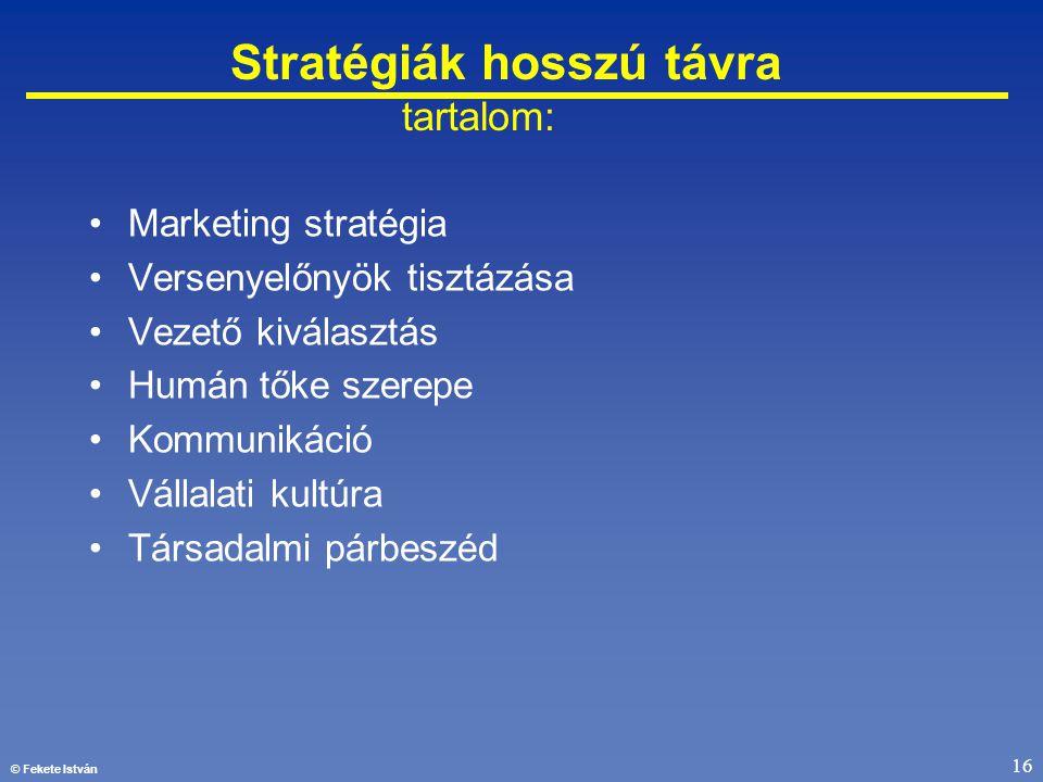 © Fekete István 16 Stratégiák hosszú távra tartalom: •Marketing stratégia •Versenyelőnyök tisztázása •Vezető kiválasztás •Humán tőke szerepe •Kommunik