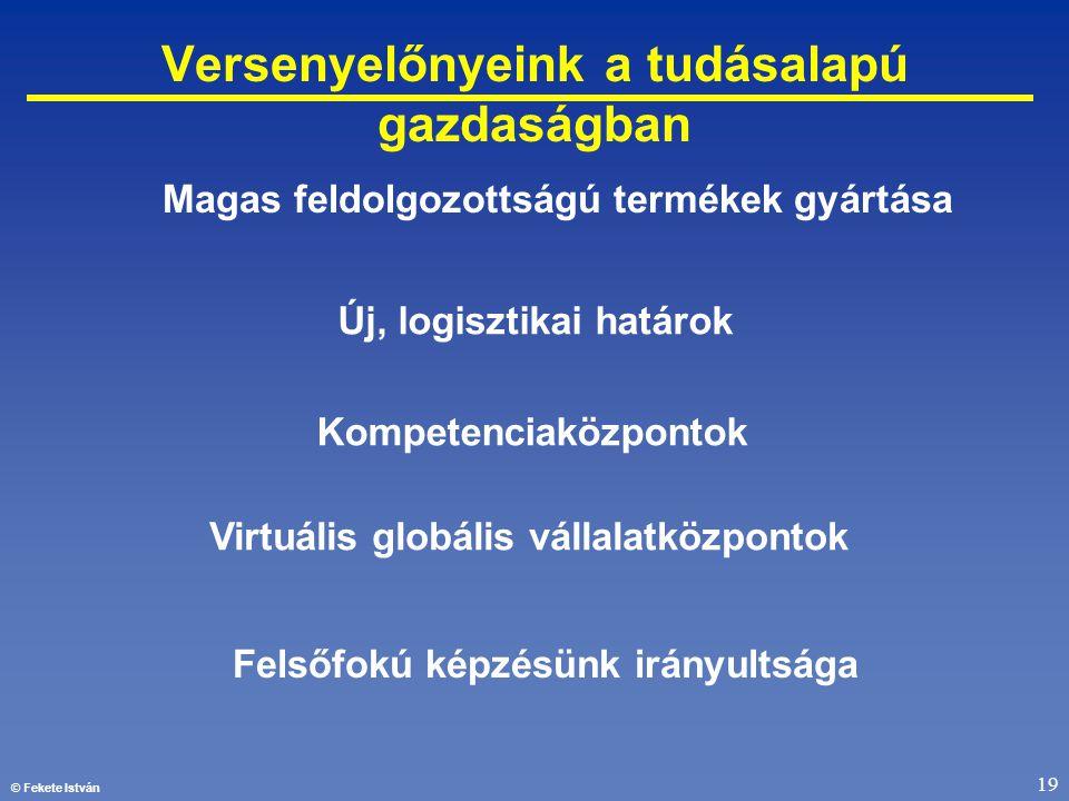 © Fekete István 19 Versenyelőnyeink a tudásalapú gazdaságban Felsőfokú képzésünk irányultsága Új, logisztikai határok Kompetenciaközpontok Virtuális g