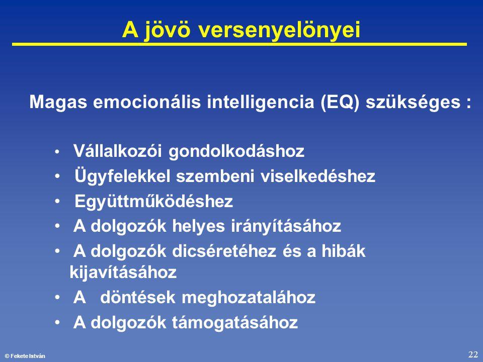 © Fekete István 22 A jövö versenyelönyei Magas emocionális intelligencia (EQ) szükséges : • Vállalkozói gondolkodáshoz • Ügyfelekkel szembeni viselked