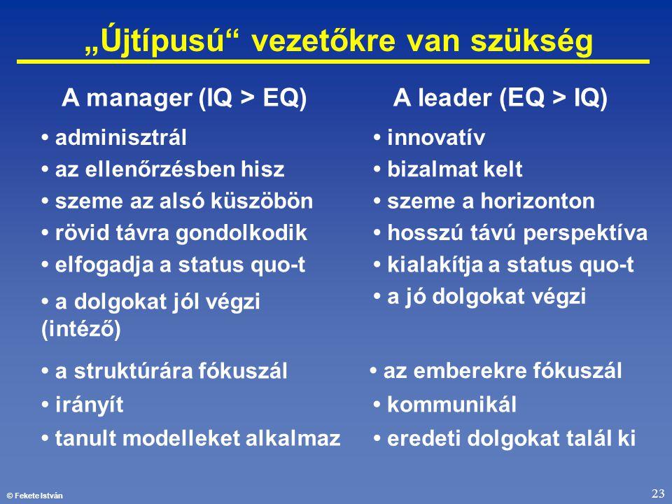 """© Fekete István 23 """"Újtípusú"""" vezetőkre van szükség • szeme a horizonton • kialakítja a status quo-t • a jó dolgokat végzi • az emberekre fókuszál • k"""
