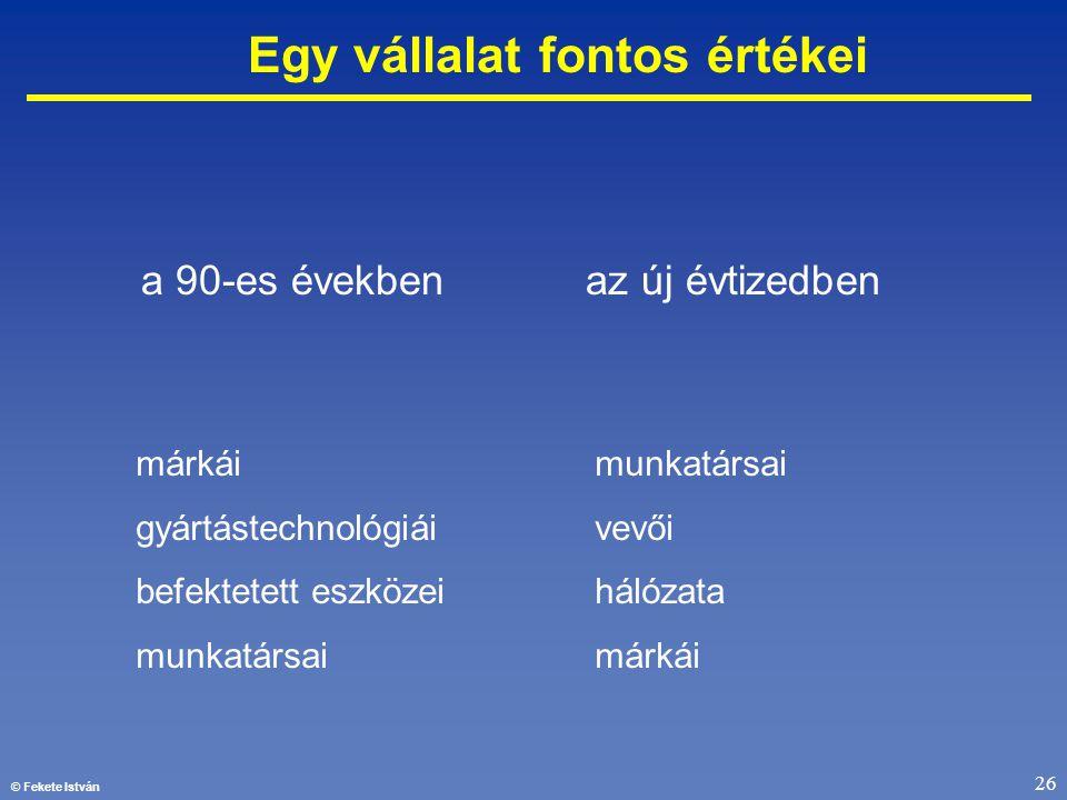 © Fekete István 26 Egy vállalat fontos értékei a 90-es években az új évtizedben márkái gyártástechnológiái befektetett eszközei munkatársai vevői háló