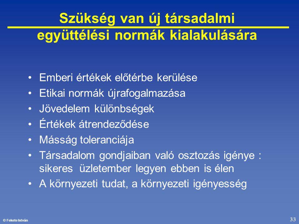 © Fekete István 33 •Emberi értékek előtérbe kerülése •Etikai normák újrafogalmazása •Jövedelem különbségek •Értékek átrendeződése •Másság toleranciája