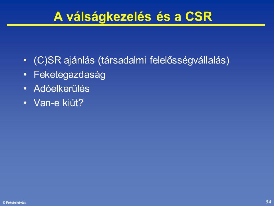 © Fekete István 34 A válságkezelés és a CSR •(C)SR ajánlás (társadalmi felelősségvállalás) •Feketegazdaság •Adóelkerülés •Van-e kiút?