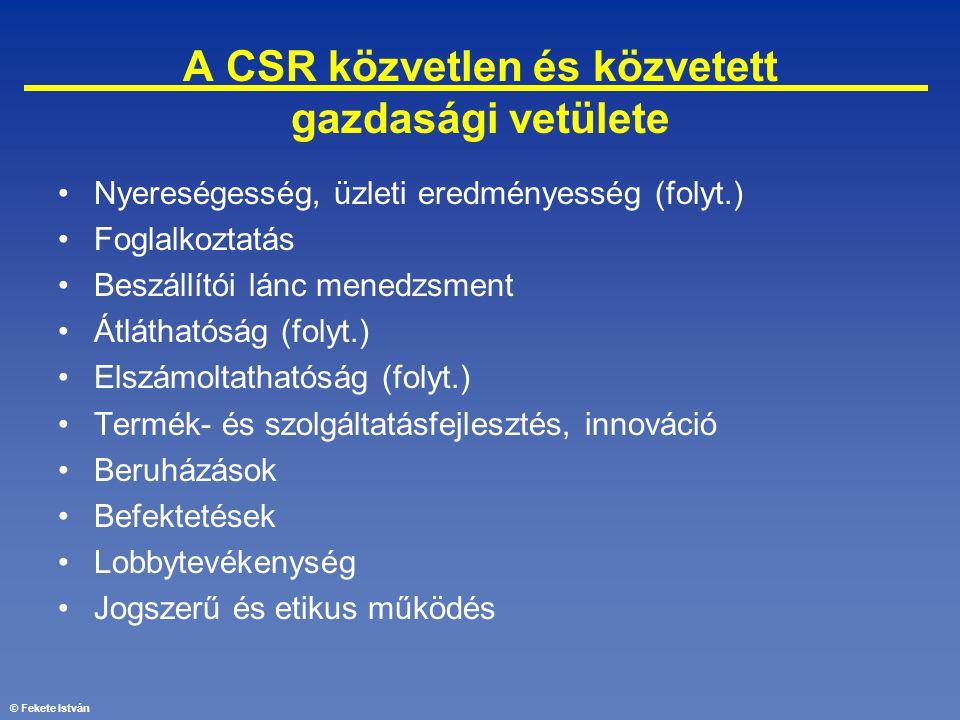 © Fekete István A CSR közvetlen és közvetett gazdasági vetülete •Nyereségesség, üzleti eredményesség (folyt.) •Foglalkoztatás •Beszállítói lánc menedz