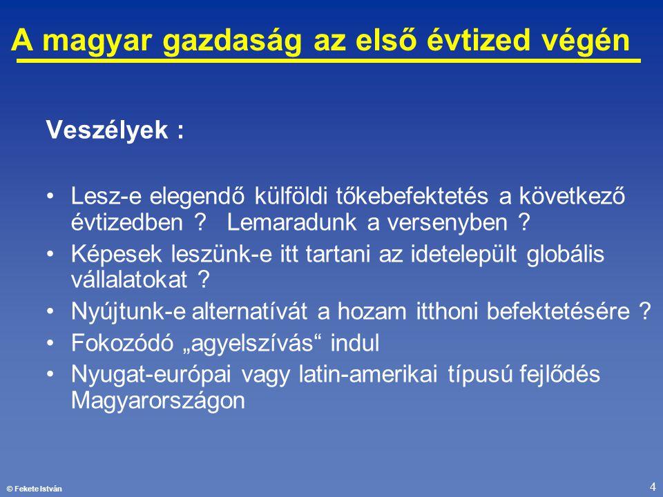 © Fekete István 4 A magyar gazdaság az első évtized végén Veszélyek : •Lesz-e elegendő külföldi tőkebefektetés a következő évtizedben ? Lemaradunk a v