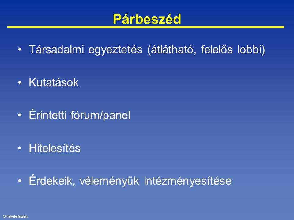 © Fekete István Párbeszéd •Társadalmi egyeztetés (átlátható, felelős lobbi) •Kutatások •Érintetti fórum/panel •Hitelesítés •Érdekeik, véleményük intéz