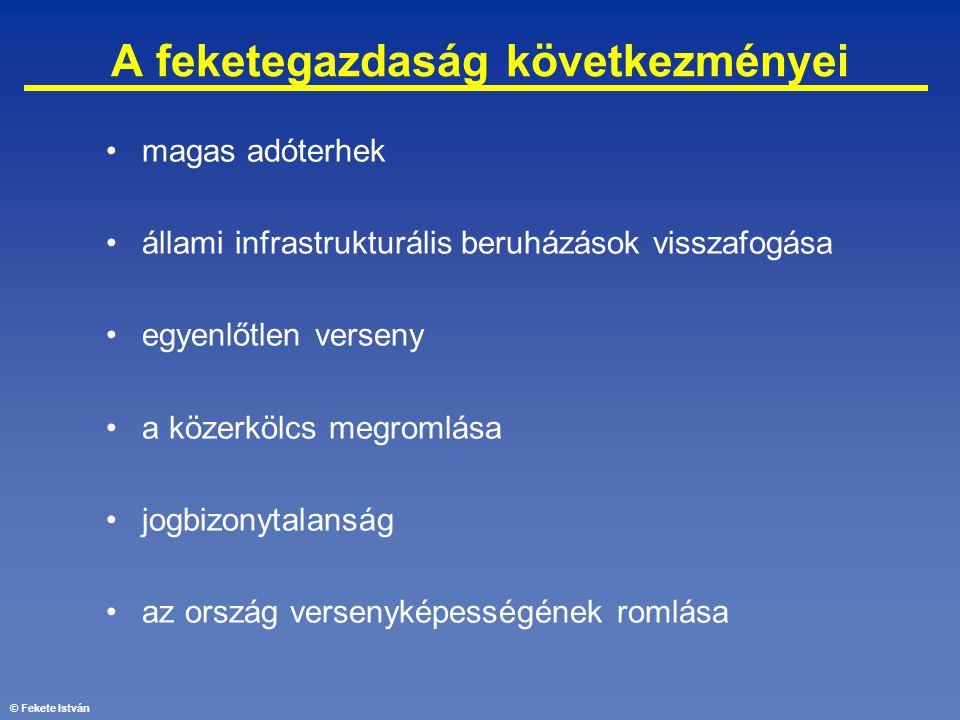 © Fekete István A feketegazdaság következményei •magas adóterhek •állami infrastrukturális beruházások visszafogása •egyenlőtlen verseny •a közerkölcs