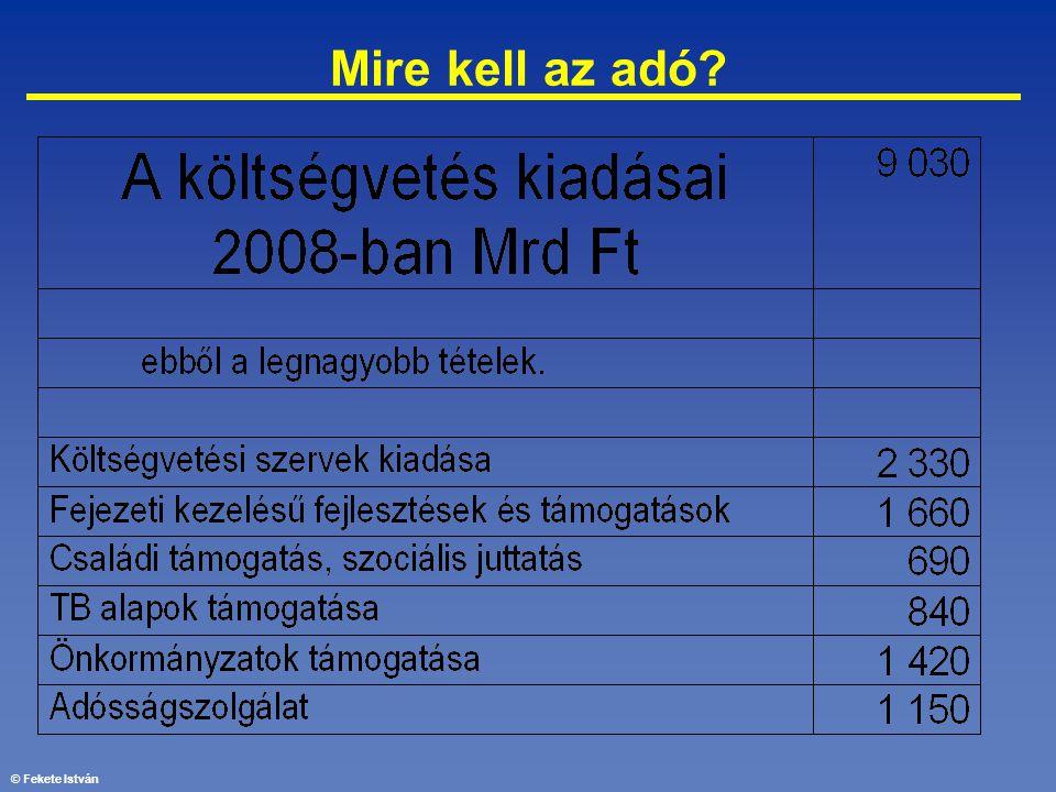 © Fekete István Mire kell az adó?