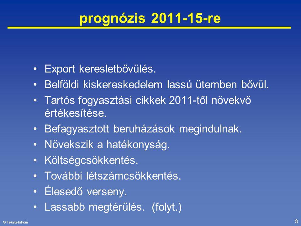 © Fekete István 8 prognózis 2011-15-re •Export keresletbővülés. •Belföldi kiskereskedelem lassú ütemben bővül. •Tartós fogyasztási cikkek 2011-től növ