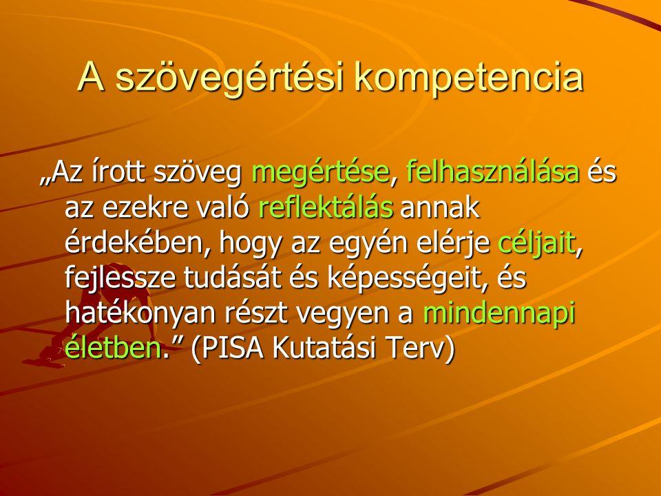 """A szövegértési kompetencia """"Az írott szöveg megértése, felhasználása és az ezekre való reflektálás annak érdekében, hogy az egyén elérje céljait, fejl"""