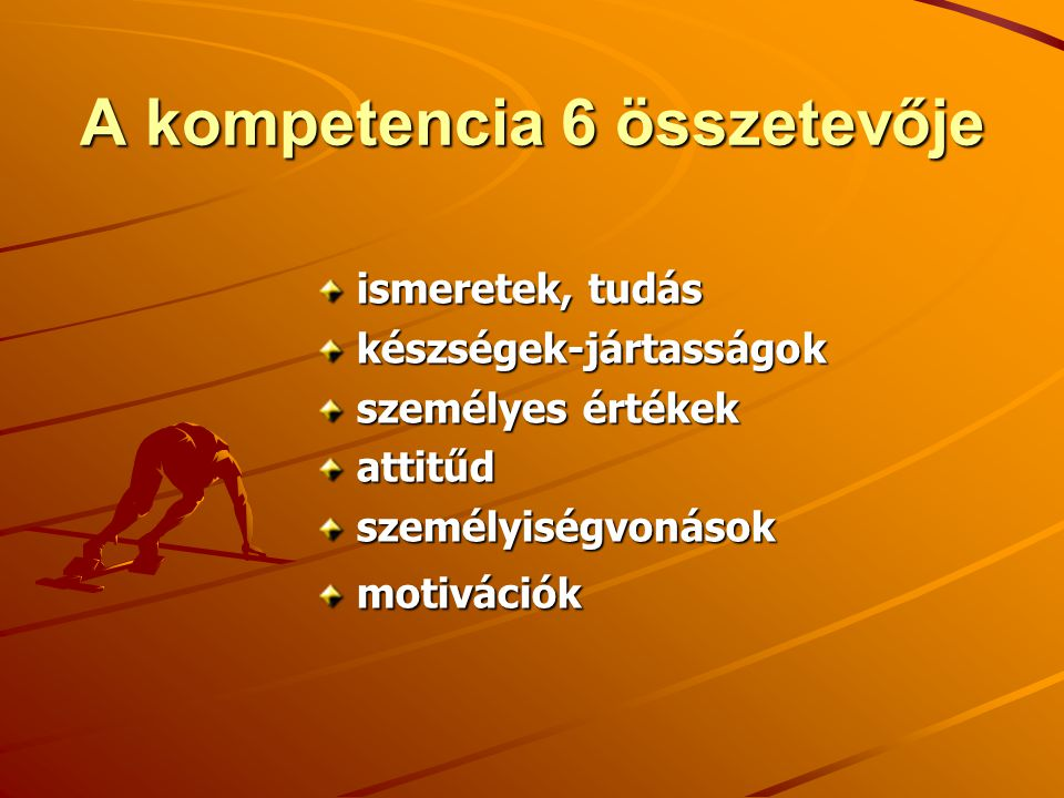 A kompetencia 6 összetevője ismeretek, tudás készségek-jártasságok személyes értékek attitűdszemélyiségvonásokmotivációk