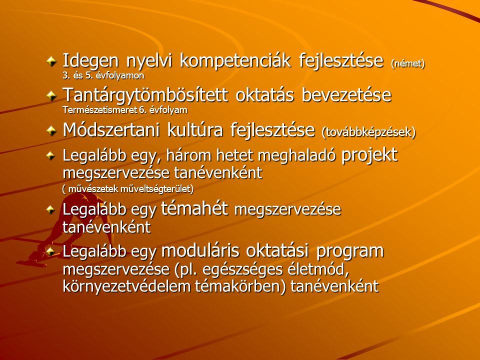 Idegen nyelvi kompetenciák fejlesztése (német) 3. és 5. évfolyamon Tantárgytömbösített oktatás bevezetése Természetismeret 6. évfolyam Módszertani kul