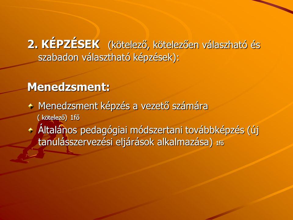 2. KÉPZÉSEK (kötelező, kötelezően válaszható és szabadon választható képzések): Menedzsment: Menedzsment képzés a vezető számára ( kötelező) 1fő ( köt