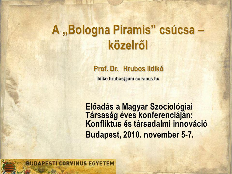 """A """"Bologna Piramis"""" csúcsa – közelről Prof. Dr. Hrubos Ildikó ildiko.hrubos@uni-corvinus.hu Előadás a Magyar Szociológiai Társaság éves konferenciáján"""