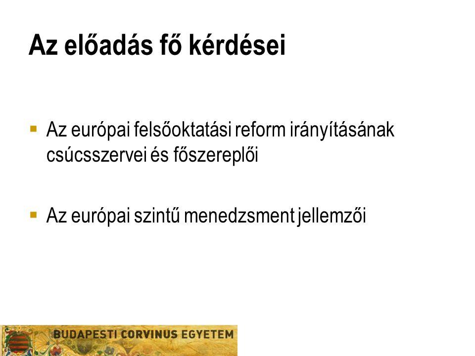 Az előadás fő kérdései  Az európai felsőoktatási reform irányításának csúcsszervei és főszereplői  Az európai szintű menedzsment jellemzői