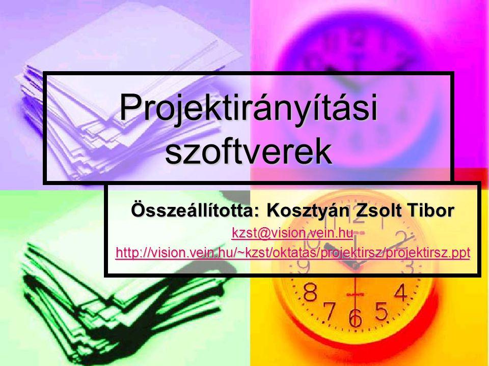 Projektirányítási szoftverek Összeállította: Kosztyán Zsolt Tibor kzst@vision.vein.hu http://vision.vein.hu/~kzst/oktatas/projektirsz/projektirsz.ppt