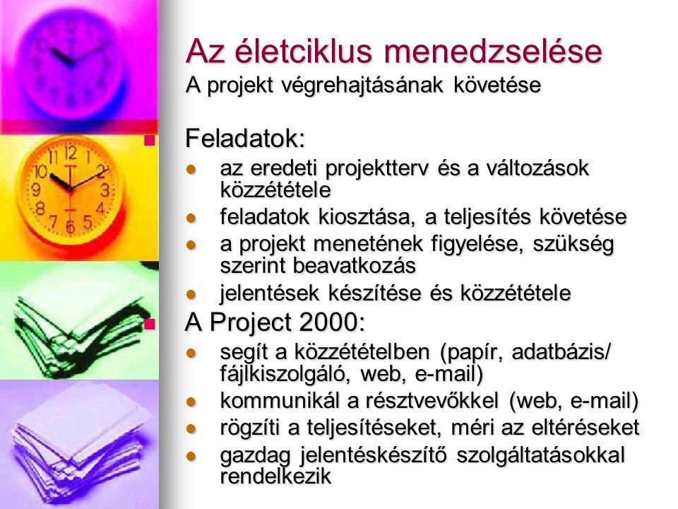 Az életciklus menedzselése A projekt végrehajtásának követése  Feladatok:  az eredeti projektterv és a változások közzététele  feladatok kiosztása,
