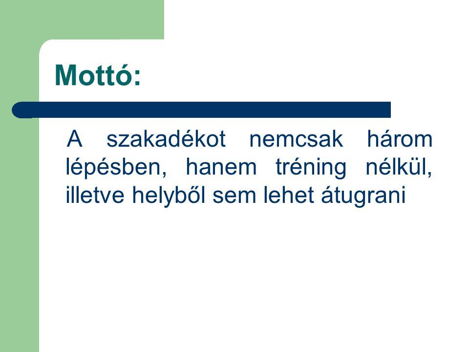 Mottó: A szakadékot nemcsak három lépésben, hanem tréning nélkül, illetve helyből sem lehet átugrani