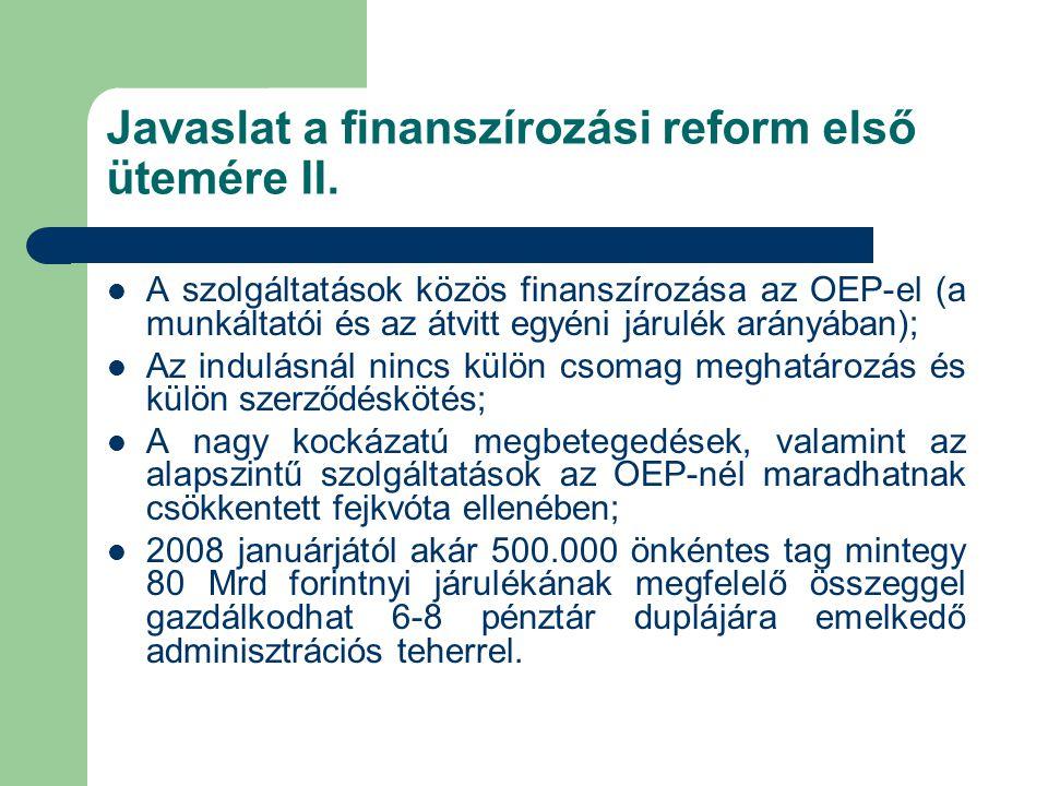 Javaslat a finanszírozási reform első ütemére II.  A szolgáltatások közös finanszírozása az OEP-el (a munkáltatói és az átvitt egyéni járulék arányáb