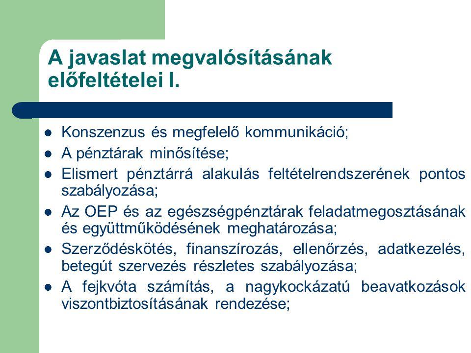 A javaslat megvalósításának előfeltételei I.  Konszenzus és megfelelő kommunikáció;  A pénztárak minősítése;  Elismert pénztárrá alakulás feltételr