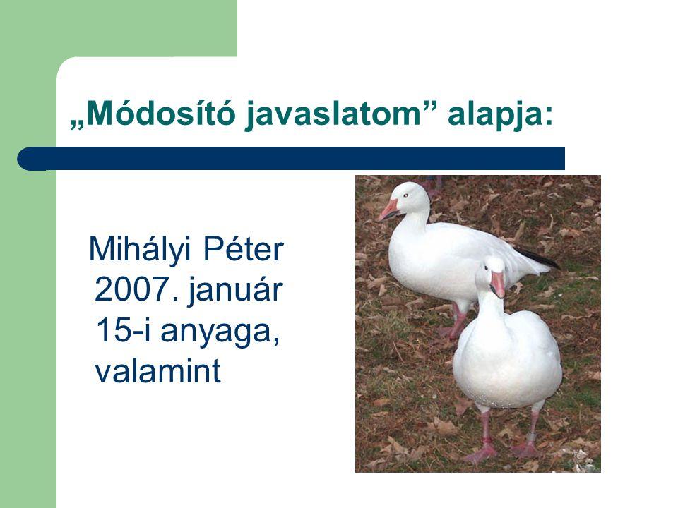 """Módosító javaslatom"" alapja: Mihályi Péter 2007. január 15-i anyaga, valamint"