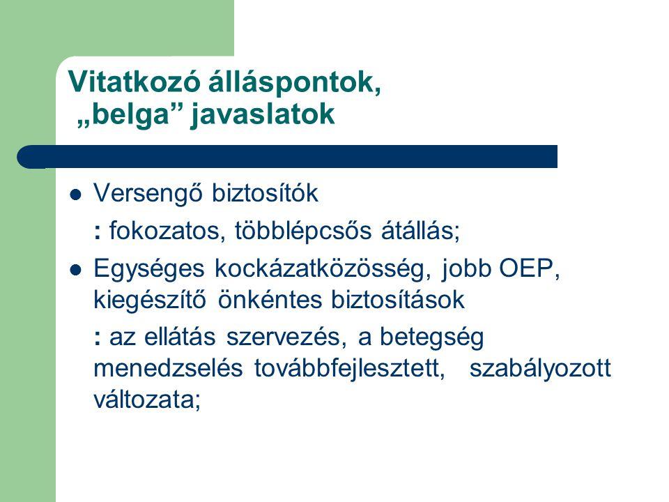 """Vitatkozó álláspontok, """"belga javaslatok  Versengő biztosítók : fokozatos, többlépcsős átállás;  Egységes kockázatközösség, jobb OEP, kiegészítő önkéntes biztosítások : az ellátás szervezés, a betegség menedzselés továbbfejlesztett, szabályozott változata;"""